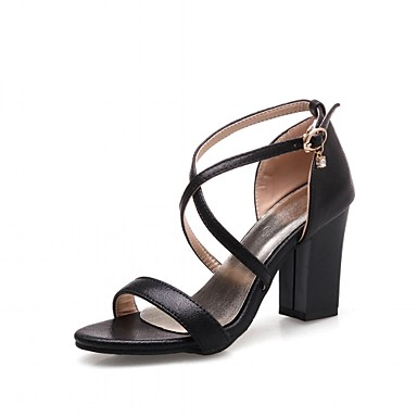 Mulheres Sapatos Sintético / Couro Ecológico Verão / Outono Conforto / Inovador Sandálias Caminhada Salto Robusto Ponta Redonda / Peep Toe