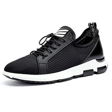 Miesten kengät PU Kevät Syksy Comfort Urheilukengät Kävely Solmittavat varten Urheilullinen Valkoinen Musta
