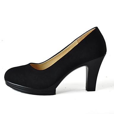 Mulheres Sapatos Tecido Primavera Outono Sapatos formais Saltos Salto Robusto Ponta Redonda para Social Escritório e Carreira Preto