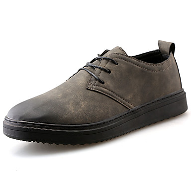 Men's Shoes PU Spring Fall Comfort Sneakers Lace-up for Casual Black Gray Khaki