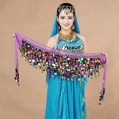 Dança do Ventre Lenços de Quadril para Dança do Ventre Mulheres Espetáculo Chiffon Lantejoulas Xale de Dança do Ventre