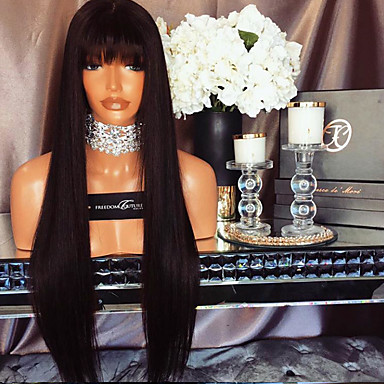 2017 Hot Selling Straight Lace Front Human Hair Wigs with Bangs 130% Density Brazilian Virgin Hair Glueless Lace Wig for Woman