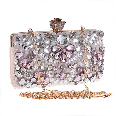 Women Bags Polyester Evening Bag Rhinestone Appliques Buckle Floral Flower for Wedding Event/Party Casual Formal Office & Career All