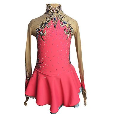 Figure Skating Dress Women's / Girls' Ice Skating Dress Pink+Red Spandex Rhinestone / Appliques High Elasticity Performance Skating Wear