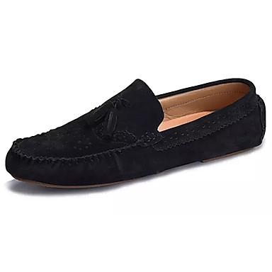 Hombre Zapatos PU Primavera / Otoño Mocasín Zapatos de taco bajo y Slip-On Negro / Azul Oscuro / Gris CV8uPZS