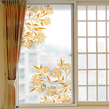 Art Deco Natal Adesivo de Janela, PVC/Vinil Material Decoração de janela Sala de Estar