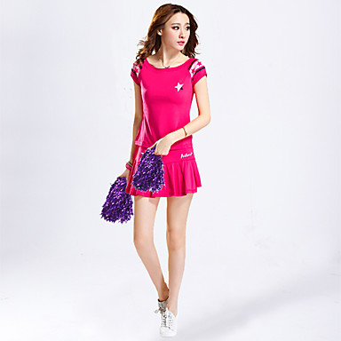 Cheerleader Costumes Outfits Women's Performance Polyester Appliques 2 Pieces Short Sleeve High Skirts Tops
