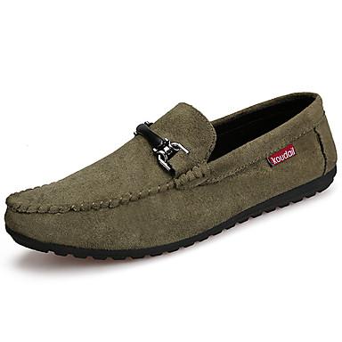 Homens sapatos Couro Ecológico Primavera Verão Conforto Mocassins e Slip-Ons para Casual Preto Cinzento Verde