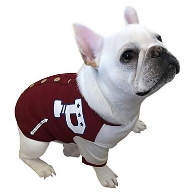 Cachorro Moletom Basebal Roupas para Cães Carta e Número Vermelho Verde Algodão Ocasiões Especiais Para animais de estimação Homens
