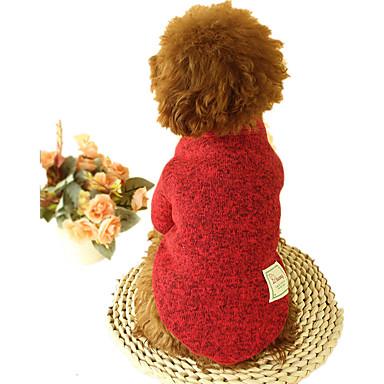 Hund Gensere Hundeklær Ensfarget Grå kaffe Rød Grønn Plysj-stoff Bomull Dun Kostume For kjæledyr Fritid/hverdag