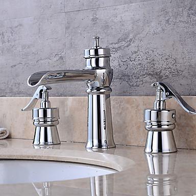 Bathroom Sink Faucet - Art Deco / Retro Chrome Widespread Brass Valve / Two Handles Four Holes