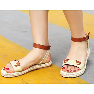 Dame Sandaler Komfort Sommer Tekstil Avslappet Hvit Brun Flat