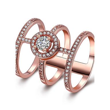 Dame Ring Kubisk Zirkonium Sølv Rose Gull Rose gull Rustfritt Stål Zirkonium Rustfrit stål/jern Gullplatert rose Rund Geometrisk Form