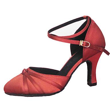Mulheres Sapatos de Dança Moderna Seda Sandália Cruzado Salto Agulha Personalizável Sapatos de Dança Marron / Vermelho / Espetáculo