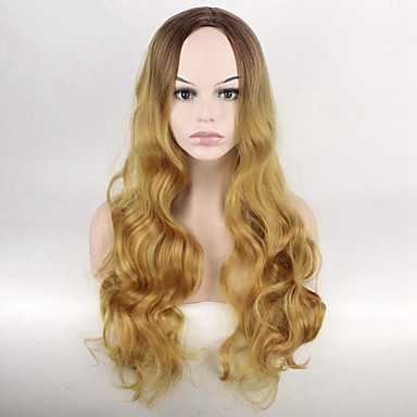 Synthetic Hair Wigs Wavy Capless Natural Wigs Long Blonde