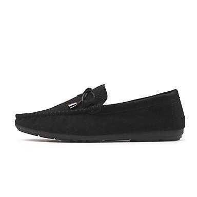 Miehet kengät Mokkanahka Kesä Syksy Mokkasiinit Mokkasiinit Käyttötarkoitus Kausaliteetti Juhlat Musta Harmaa