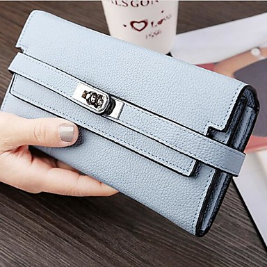 Women's Bags PU Checkbook Wallet for Casual All Seasons Black Azure Pink