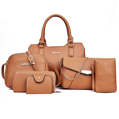Women's Bags PU Bag Set 6 Pieces Purse Set Rivet Zipper for Event / Party Formal Office & Career All Seasons Black Red Blushing Pink Brown