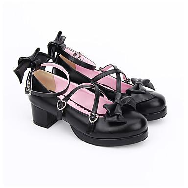 Sapatos Doce Lolita Clássica e Tradicional Confeccionada à Mão Princesa Lolita Salto Robusto Lolita Laço 4.5 CM Preto Para PU Leather