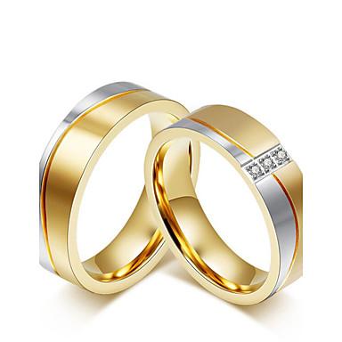 Casal Zircônia cúbica Anéis de Casal - Zircônia Cubica Estilo simples, Fashion, Elegante 5 / 6 / 7 Dourado Para Casamento / Aniversário / Festa / Noivado