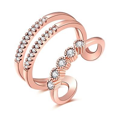 Dame Luksus Bohemsk Hypoallergenisk Bikini Kubisk Zirkonium Zirkonium Kobber Sølvplett Ring - Geometrisk Form Uregelmessig Blomst