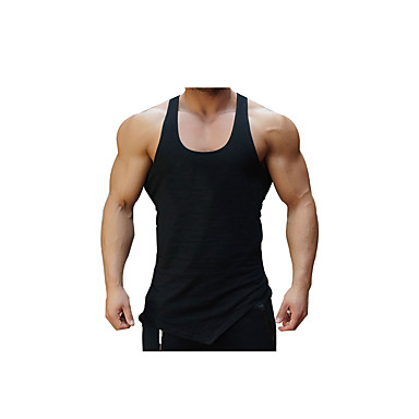 Men's Gym Tank Top Breathability Stretchy Comfortable Casual/Daily Tank Top for Exercise & Fitness Running Cotton White Black M L XL XXL