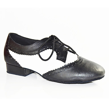 Men's Latin Shoes Patent Leather Flat Splicing Customizable Dance Shoes Black-white / Performance