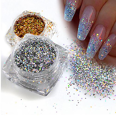 1 Glitter Powder Paetês Elegante & Luxuoso Nail Glitter Brilho & Glitter Nail Art Design