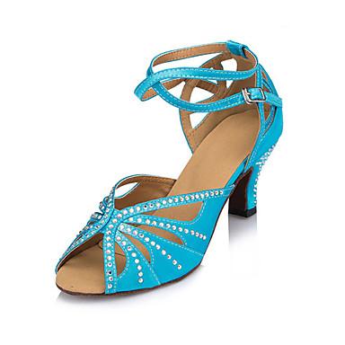 Mulheres Sapatos de Dança Latina Seda Sandália / Têni Pedrarias / Presilha Salto Robusto Personalizável Sapatos de Dança Azul marinho