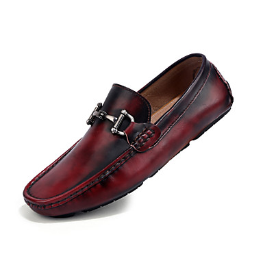 Men's Shoes PU Summer Novelty Loafers & Slip-Ons For Casual Black Brown Red