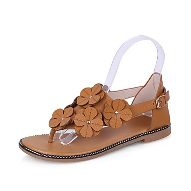 Naiset Kengät PU Kevät Kesä Comfort Valopohjat Sandaalit Tasapohja Aplikointi Käyttötarkoitus Kausaliteetti Valkoinen Keltainen Ruskea