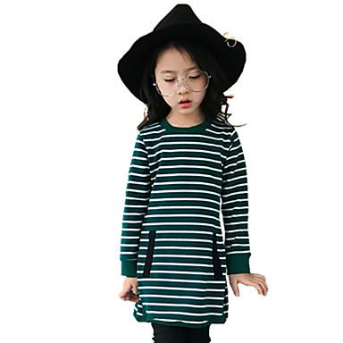 Jente T-skjorte Stribe Bomull Høst Alle årstider Langermet Blomster Grønn Svart