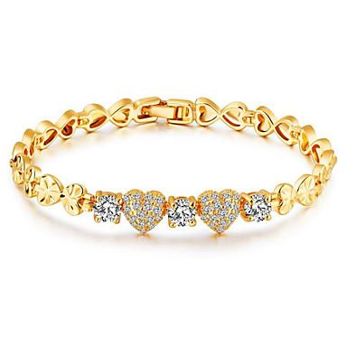 Mulheres Pulseiras em Correntes e Ligações Zircônia cúbica Vintage Fashion Strass Chapeado Dourado Formato Circular Coração Jóias