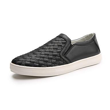 Homens sapatos Couro Primavera / Outono Conforto Mocassins e Slip-Ons Branco / Preto
