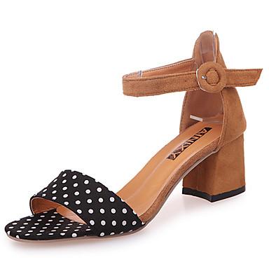 Naisten Kengät PU Kesä Sandaalit Kävely Matala korko Pyöreä kärkinen Pistekuvio varten Musta Ruskea Punainen