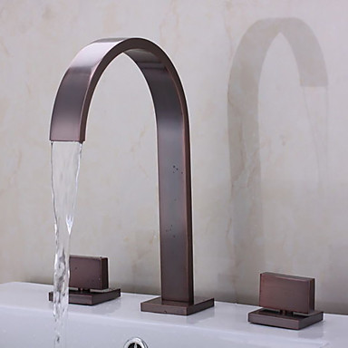 Bathroom Sink Faucet - Waterfall Oil-rubbed Bronze Widespread Two Handles Three Holes Bath Taps