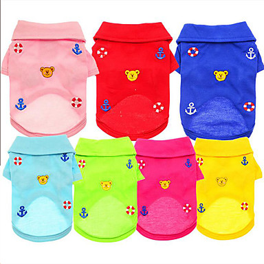 Dog Shirt / T-Shirt Dog Clothes Casual/Daily Bear Yellow Red Green Blue Pink Costume For Pets