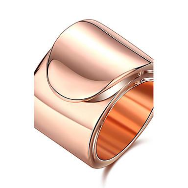 Mulheres Anel Elegant Estilo simples Aço Titânio Pedaço de Platina Rosa Folheado a Ouro Redonda Jóias de fantasia Casamento Aniversário