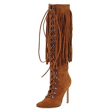 Mulheres Sapatos Courino Inverno Botas da Moda / Sapatos formais Botas Salto Agulha Dedo Apontado Botas Cano Alto Ziper / Cadarço /