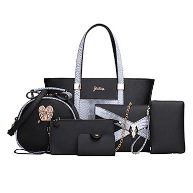 Women's Bags PU Tote 6 Pieces Purse Set for Casual Office & Career All Seasons Black Beige Gray Fuchsia