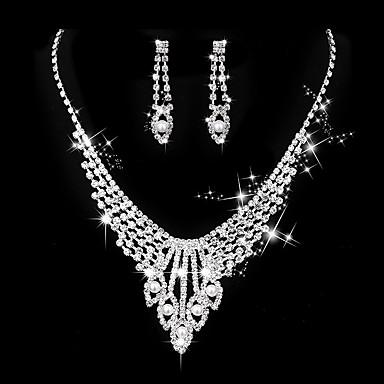 Mulheres Zircônia cúbica Zircônia Cubica Coração Conjunto de jóias - Vintage Elegant Coração Brincos Compridos Gargantilhas Sets nupcial