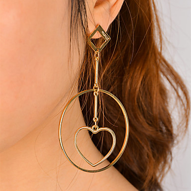 Women's Dangle Earrings - Heart Statement, Dangling Style, Fashion Gold / Silver For Party Party / Evening Dailywear