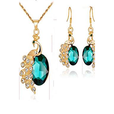 Naisten Morsiamen korut setit Synteettinen timantti Synteettinen Emerald Gold Plated Metalliseos Animal Muoti Juhla Arkikäyttö Lahja