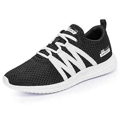 Homens sapatos Couro Ecológico Primavera Outono Conforto Tênis Corrida para Ao ar livre Preto Cinzento Branco/Preto