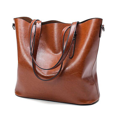 Women's Bags PU Tote for Outdoor Black / Brown / Wine