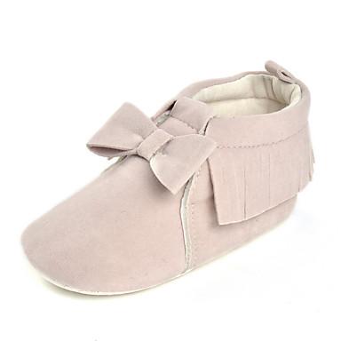 Para Meninas Sapatos Tecido Primavera / Outono Conforto Rasos Laço para Bege / Cinzento Claro / Rosa claro / Casamento / Festas & Noite
