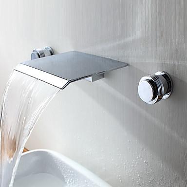 Nykyaikainen Moderni tyyli Kolmiosainen Vesiputous Messinkiventtiili Kaksi kahvaa kolme reikää Kromi, Kylpyhuone Sink hana