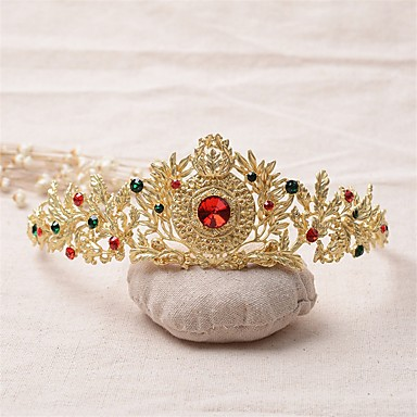 Gemstone & Crystal Tulle Rhinestone Alloy Tiaras Headpiece with Crystal Feather 1 Wedding Special Occasion Birthday Event / Party Party /