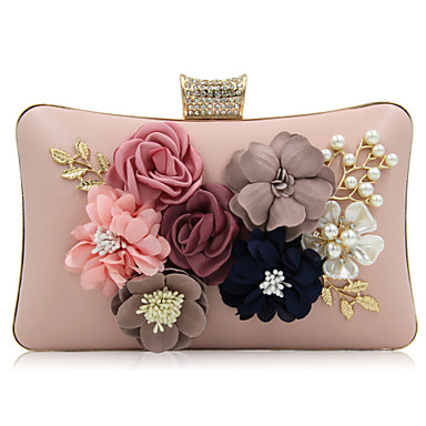 Women's Bags PU Evening Bag Rhinestone Beading Petal Flower for Wedding Event/Party Casual Formal Office & Career All Seasons White Black