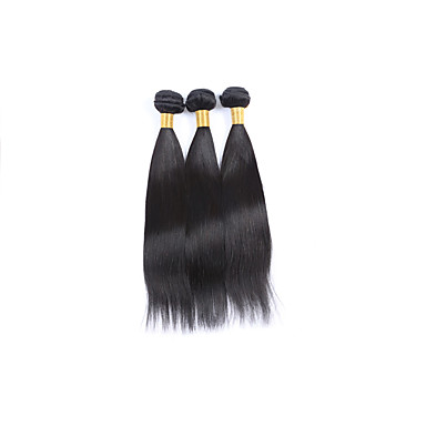 Medium Long Size 3Bundles 300g Brazilian Virgin Human Hair Wefts 130% Density 100% Unprocessed Natural Black Straight Human Hair Weaves/Extensions